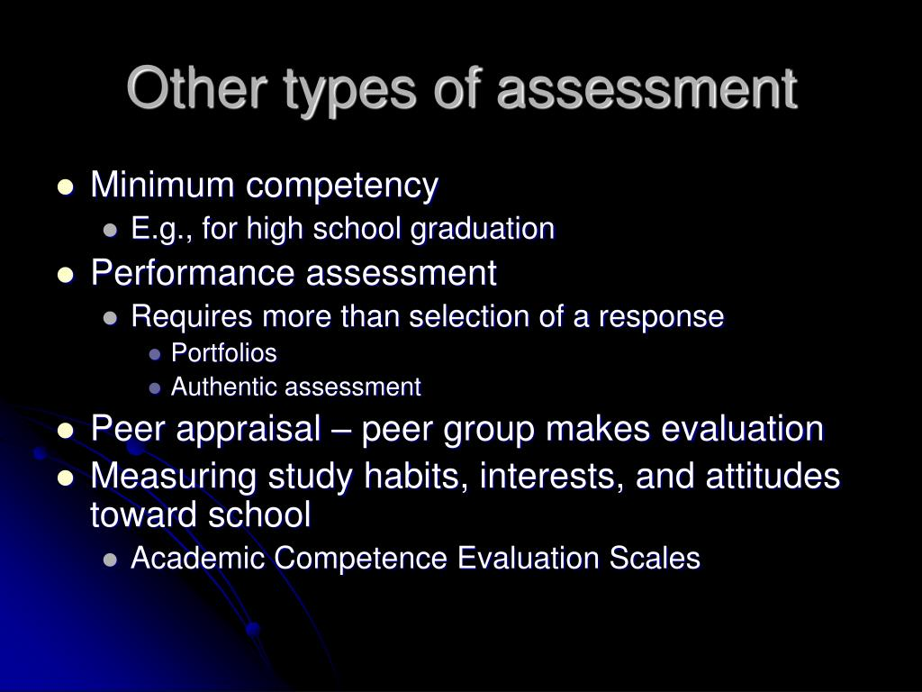 Other types of assessment