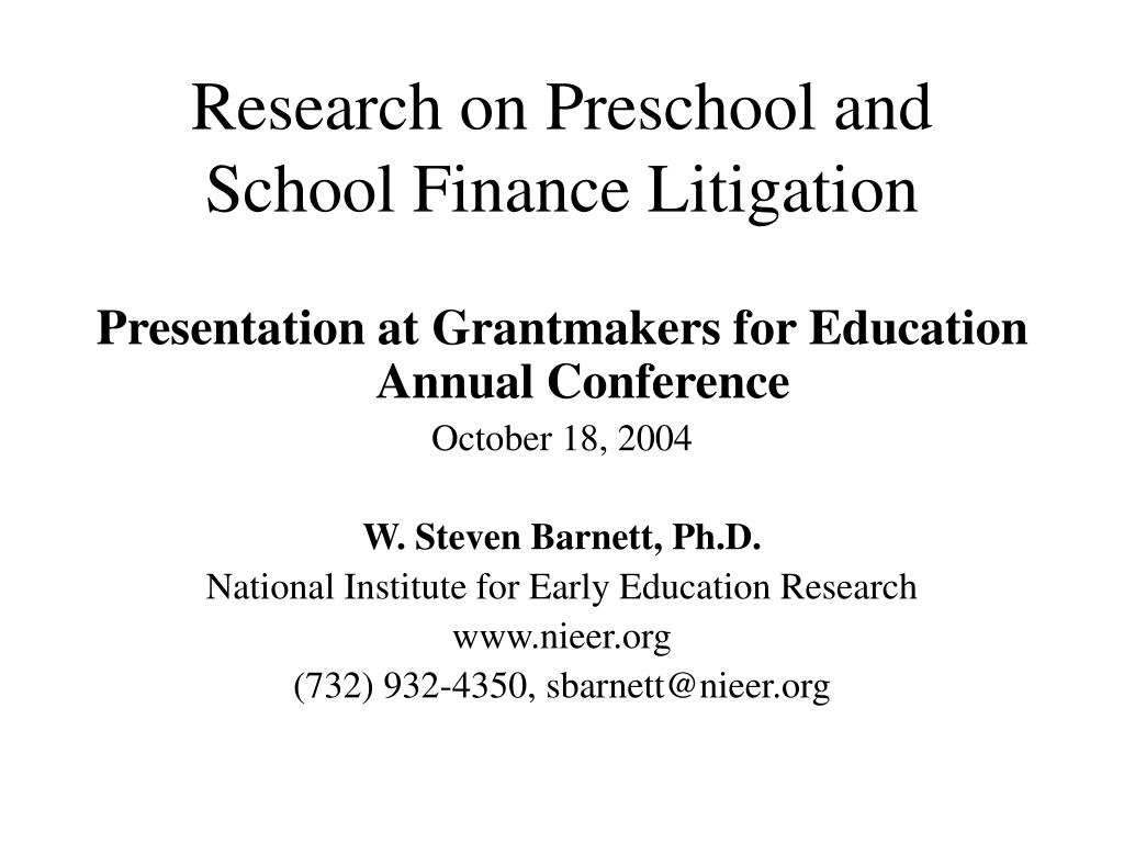 research on preschool and school finance litigation l.