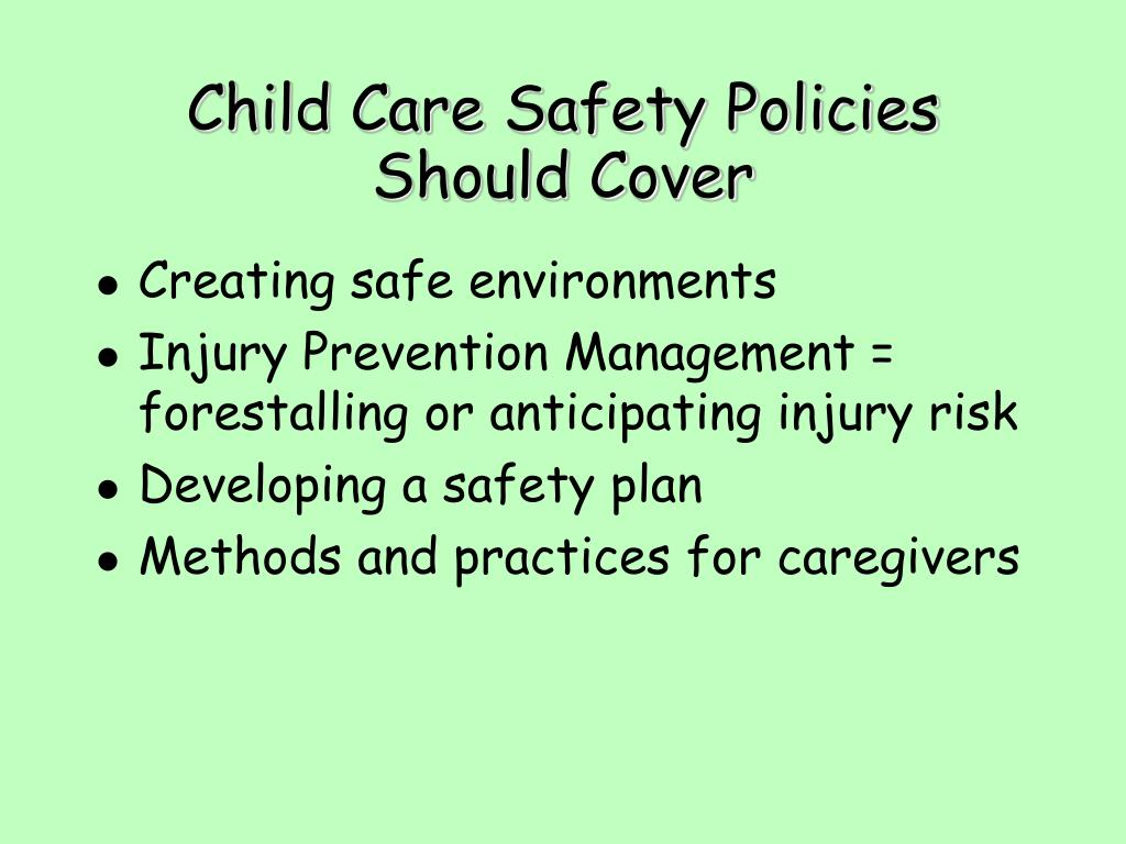 Child Care Safety Policies Should Cover
