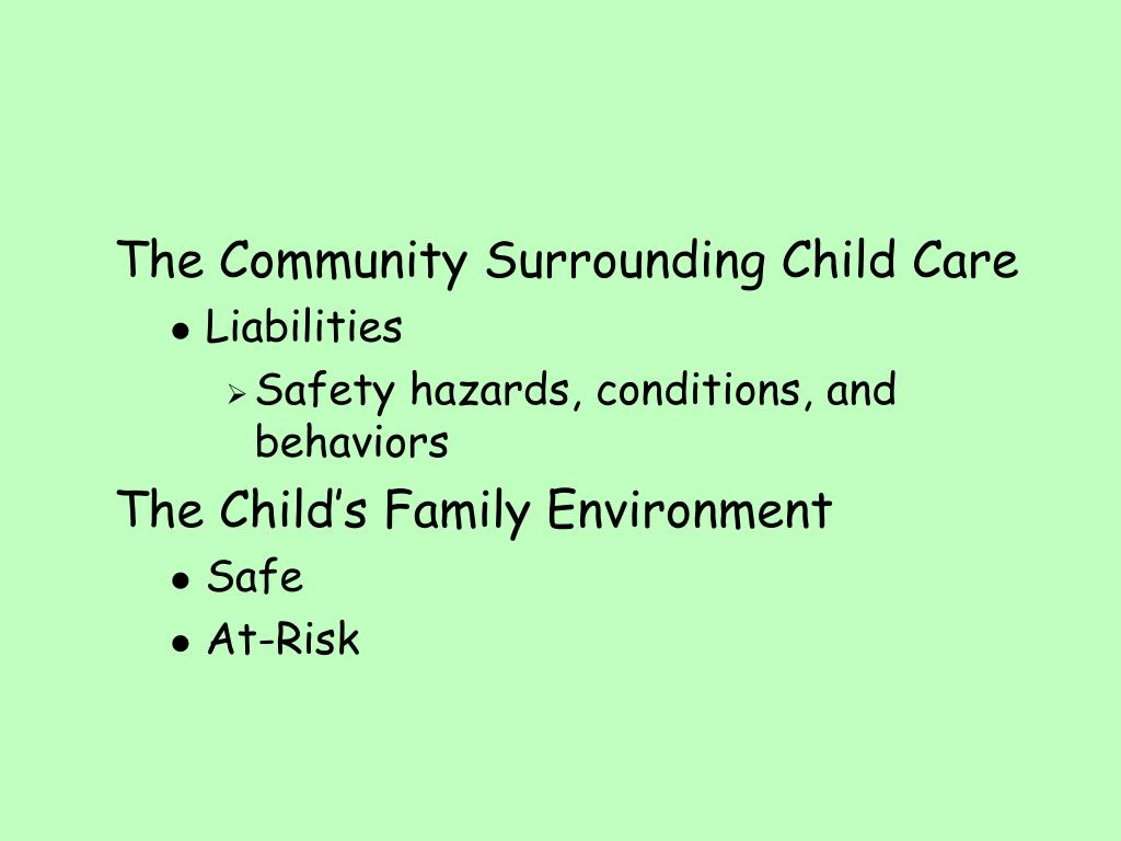The Community Surrounding Child Care