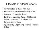 lifecycle of tutorial reports