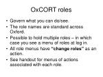 oxcort roles