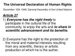 the universal declaration of human rights december 10th 1948 general assembly of the united nations