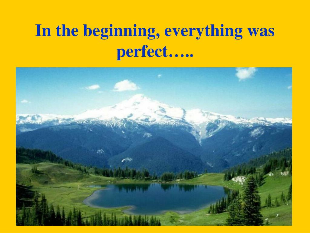 In the beginning, everything was perfect…..