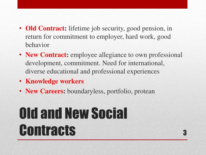 Old and new social contracts