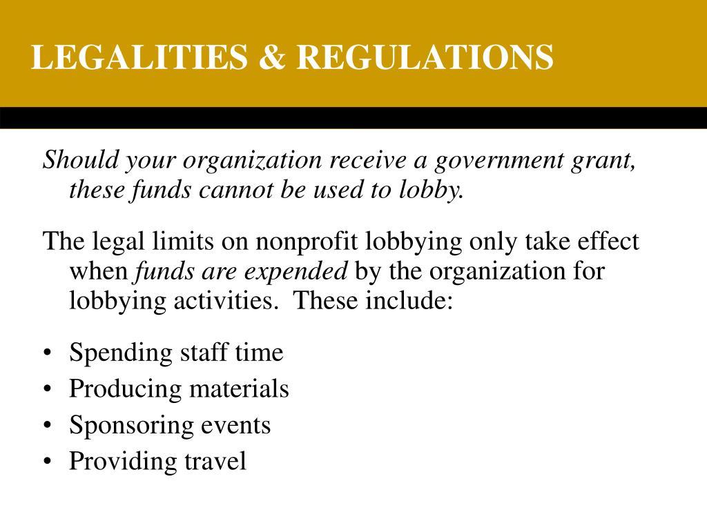 LEGALITIES & REGULATIONS