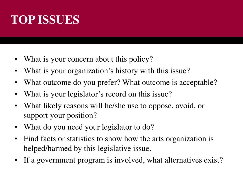 TOP ISSUES