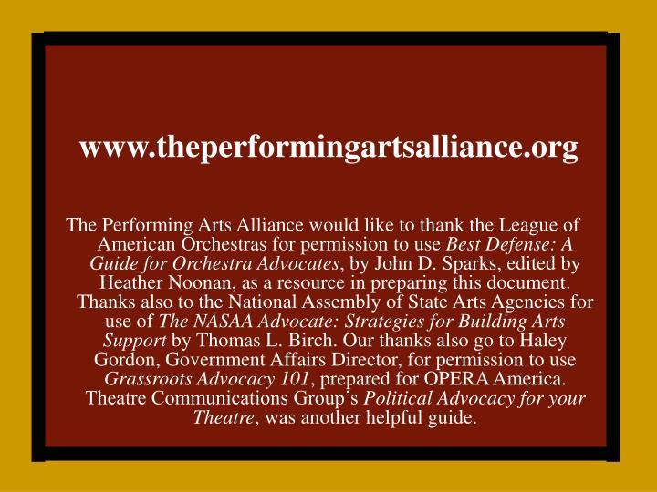 Www theperformingartsalliance org