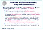 information integration management library and museum information