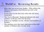 worldcat reviewing results