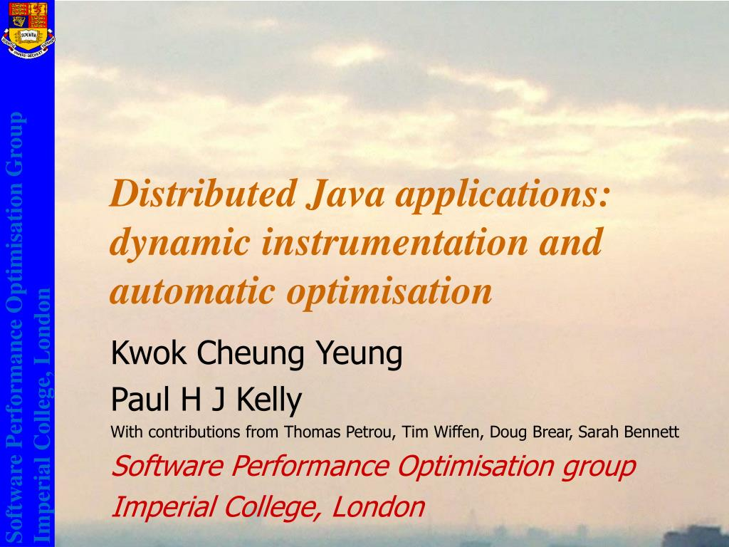 distributed java applications dynamic instrumentation and automatic optimisation l.
