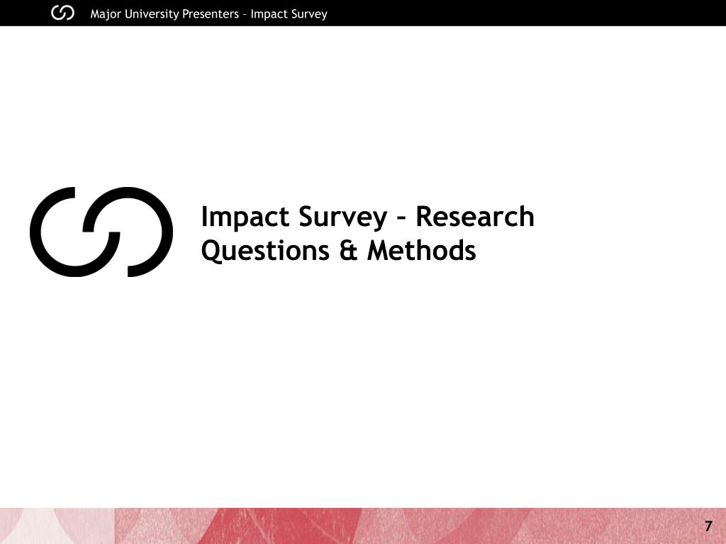 Impact Survey – Research Questions & Methods
