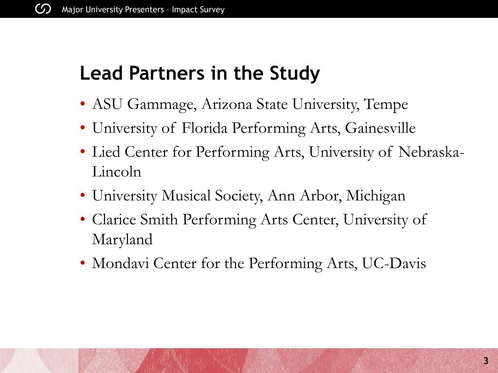 Lead Partners in the Study
