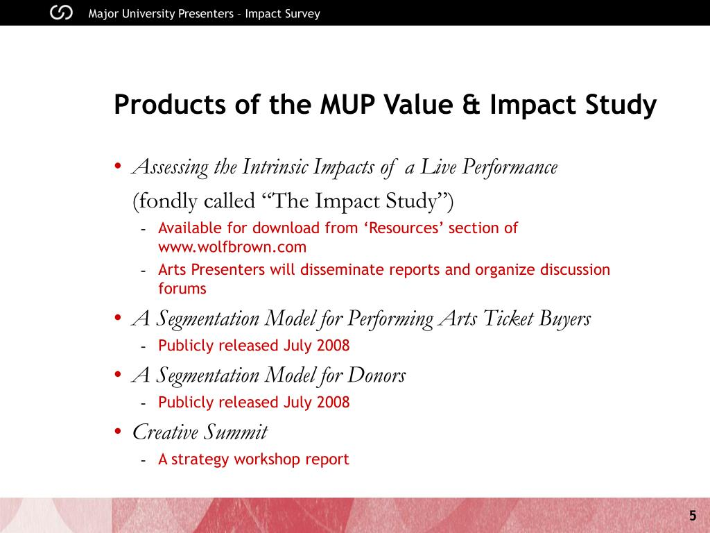 Products of the MUP Value & Impact Study