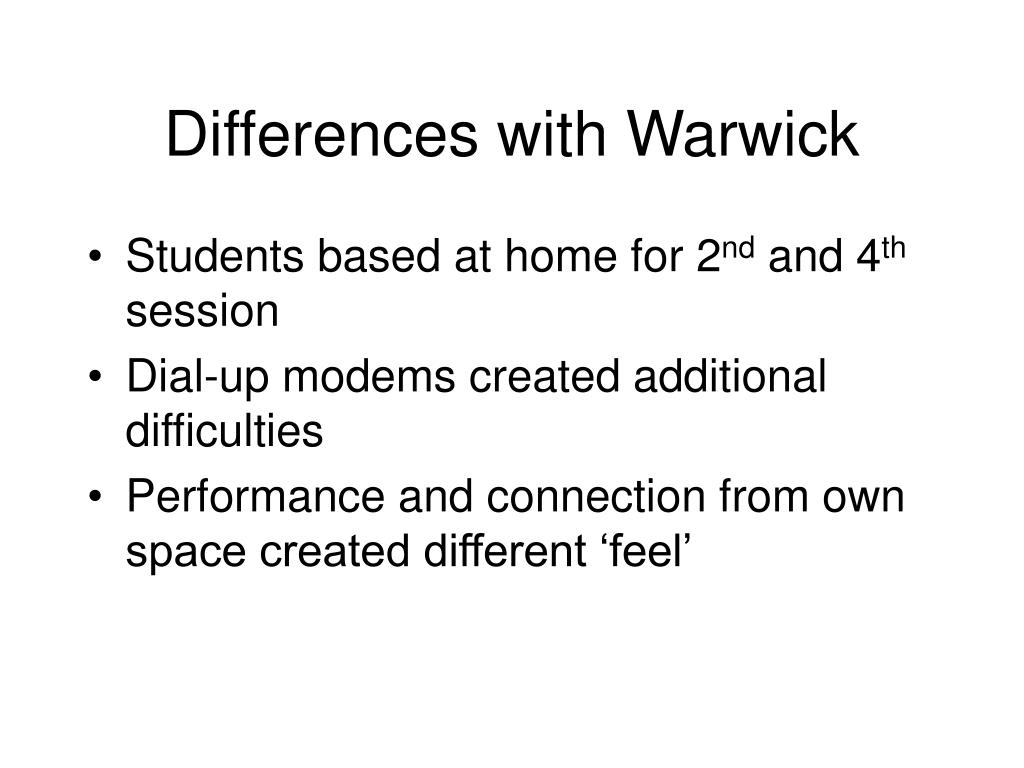 Differences with Warwick