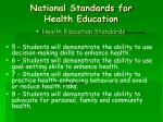 national standards for health education17