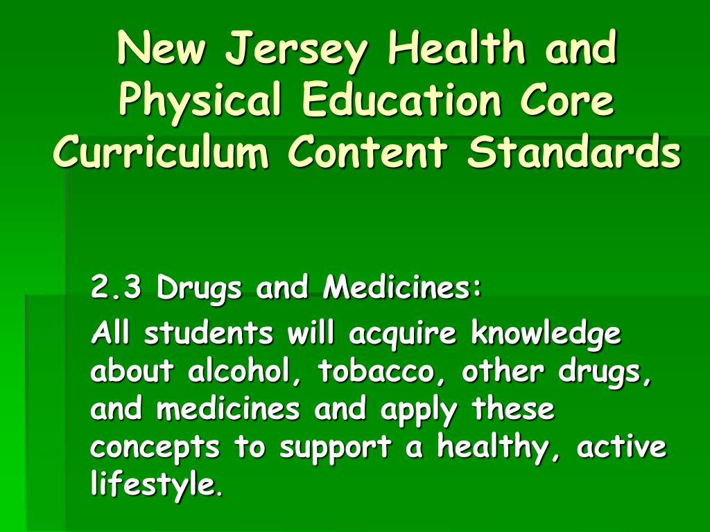 New Jersey Health and Physical Education Core Curriculum Content Standards