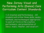 new jersey visual and performing arts dance core curriculum content standards10