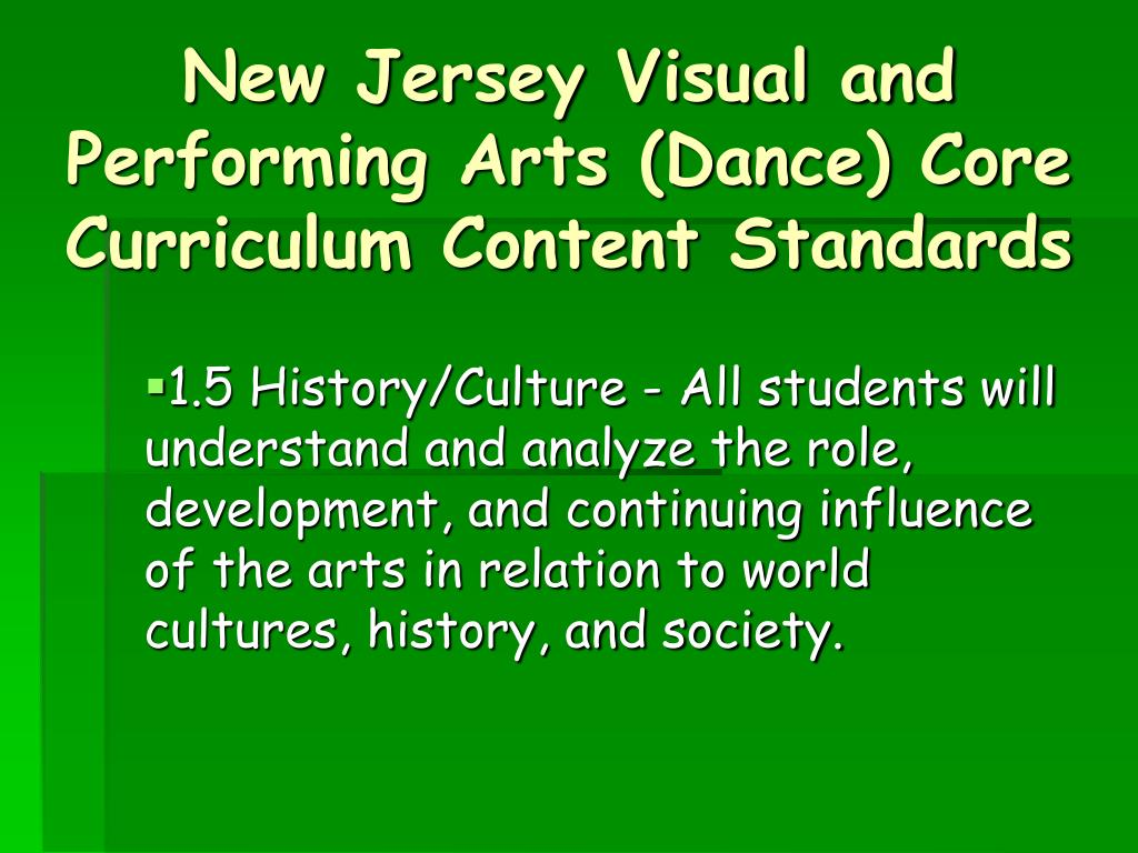 New Jersey Visual and Performing Arts (Dance) Core Curriculum Content Standards