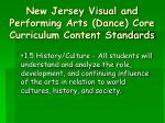 new jersey visual and performing arts dance core curriculum content standards13