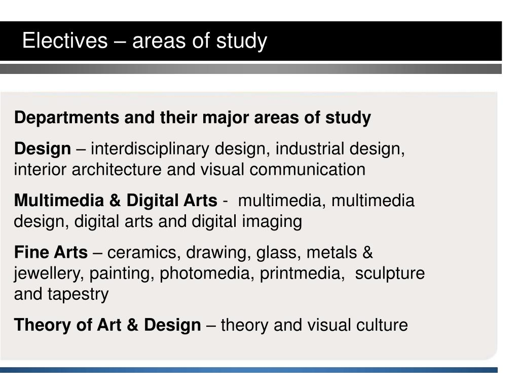Electives – areas of study