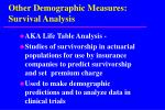 other demographic measures survival analysis