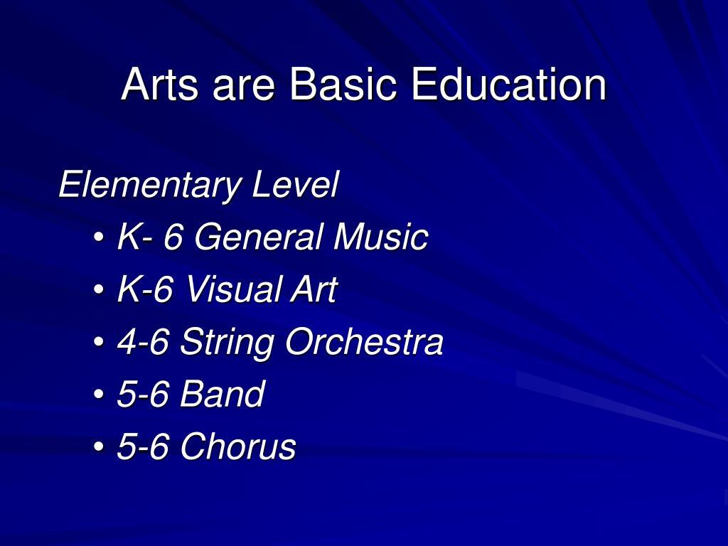 Arts are Basic Education