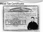 head tax certificate