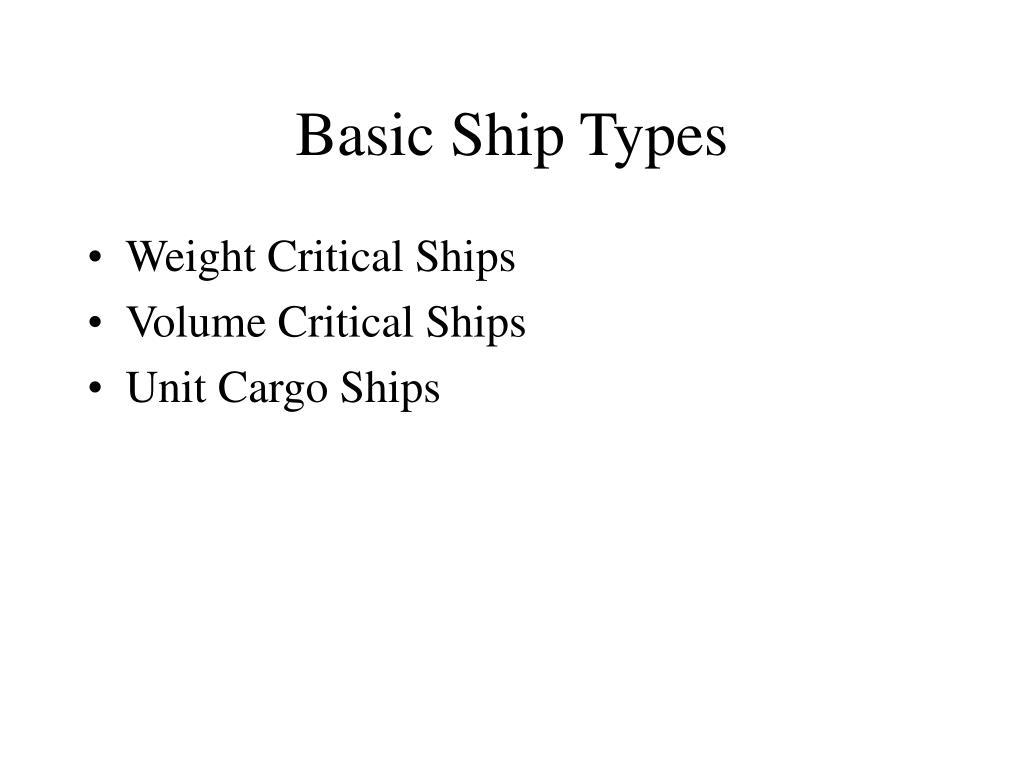 Basic Ship Types