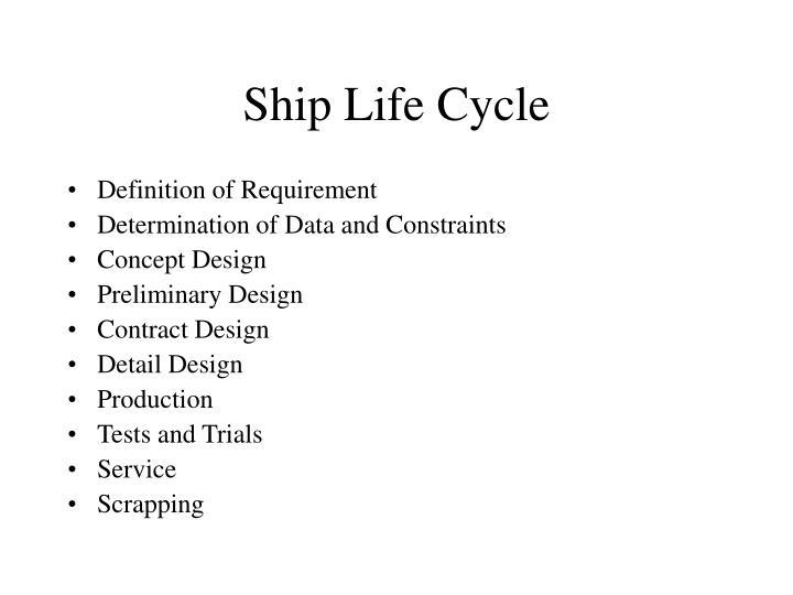 Ship life cycle