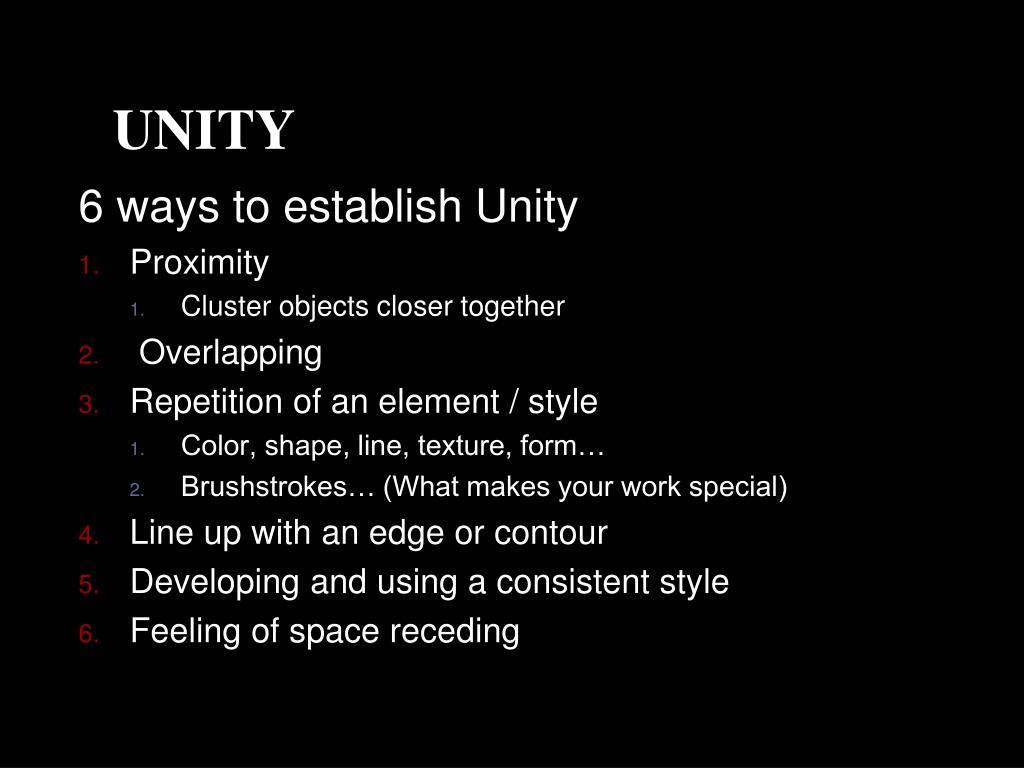 6 ways to establish Unity