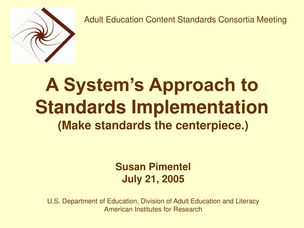 a system s approach to standards implementation l.