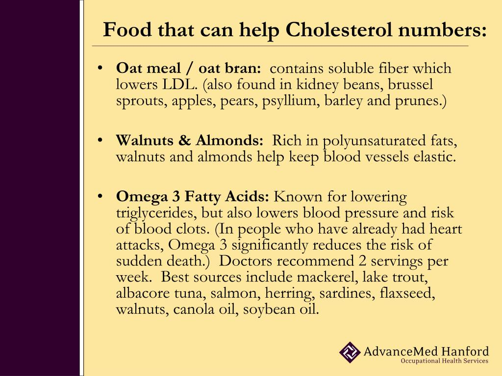 Food that can help Cholesterol numbers: