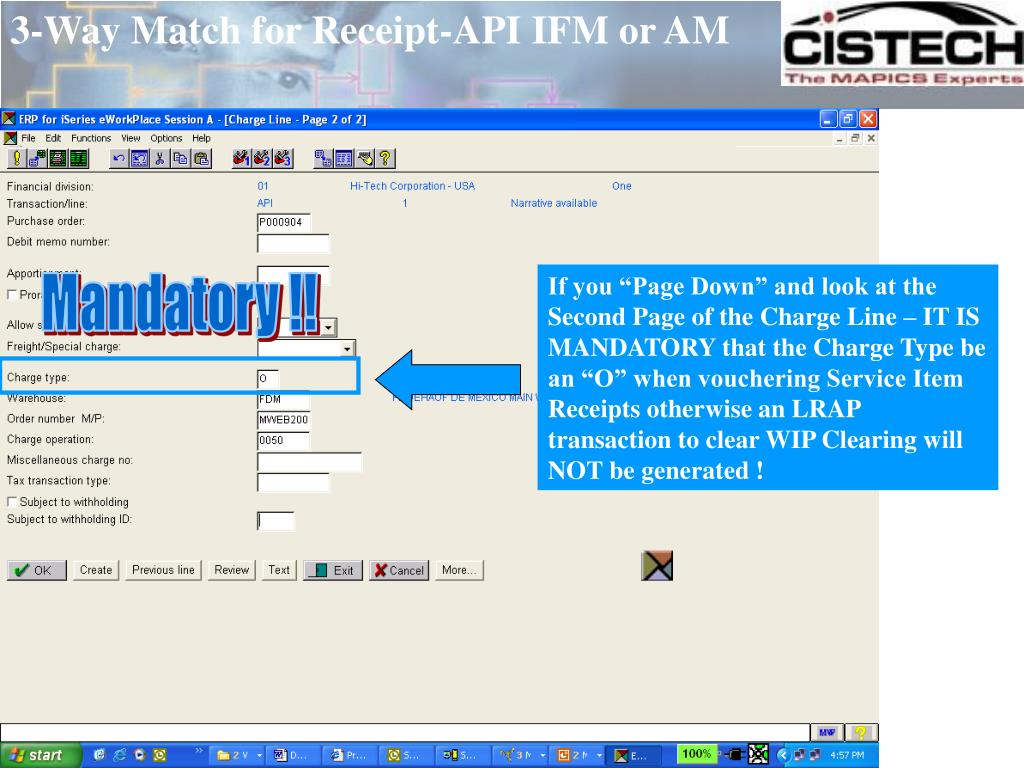 3-Way Match for Receipt-API IFM or AM