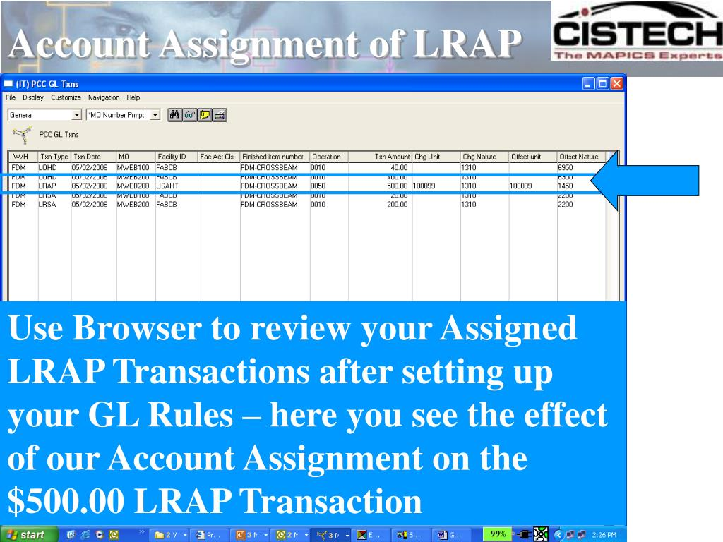 Account Assignment of LRAP