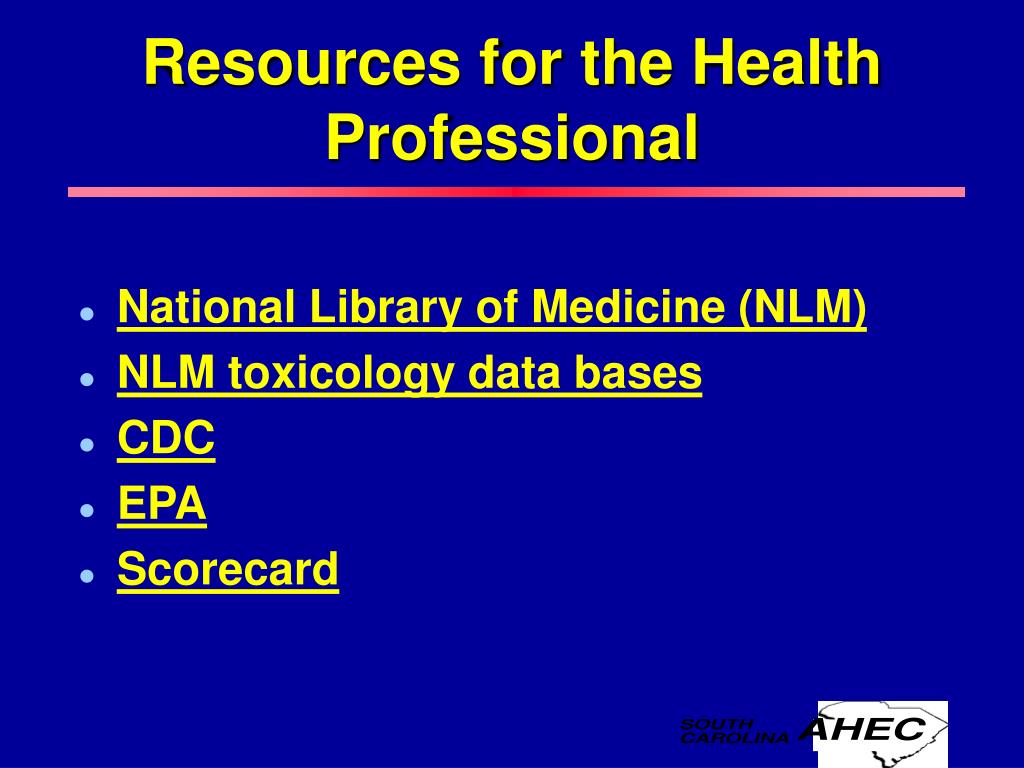 Resources for the Health Professional