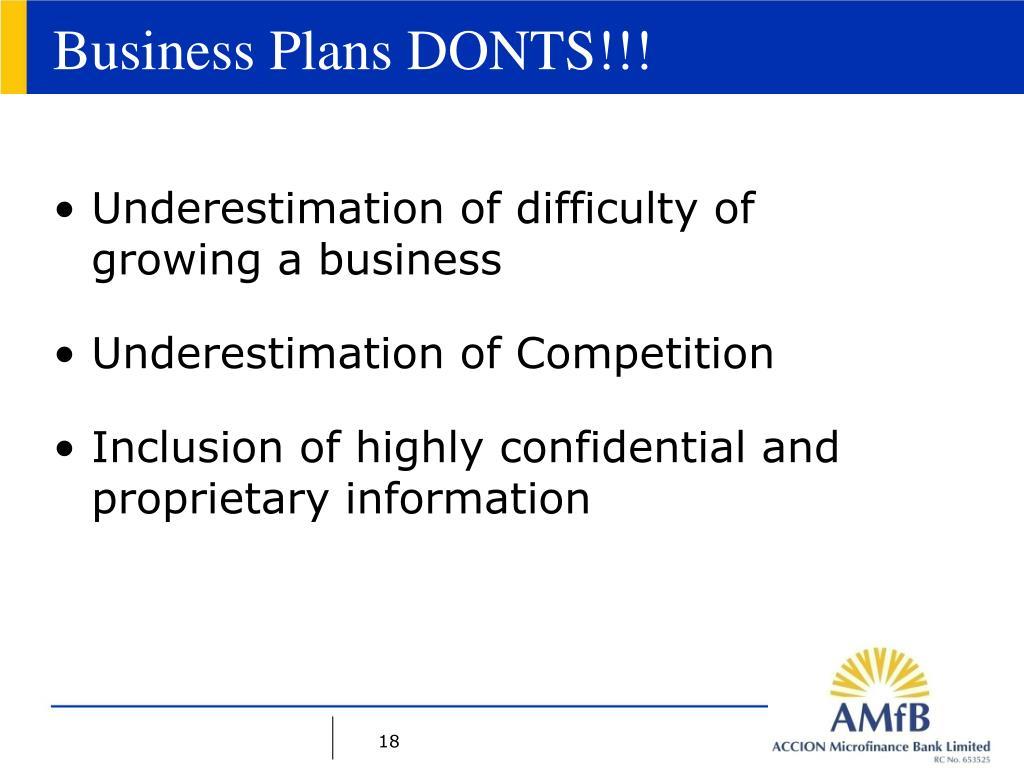 Business Plans DONTS!!!