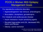 pcos in women with epilepsy management goals
