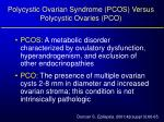 polycystic ovarian syndrome pcos versus polycystic ovaries pco