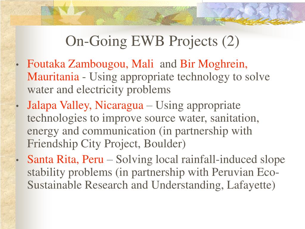 On-Going EWB Projects (2)