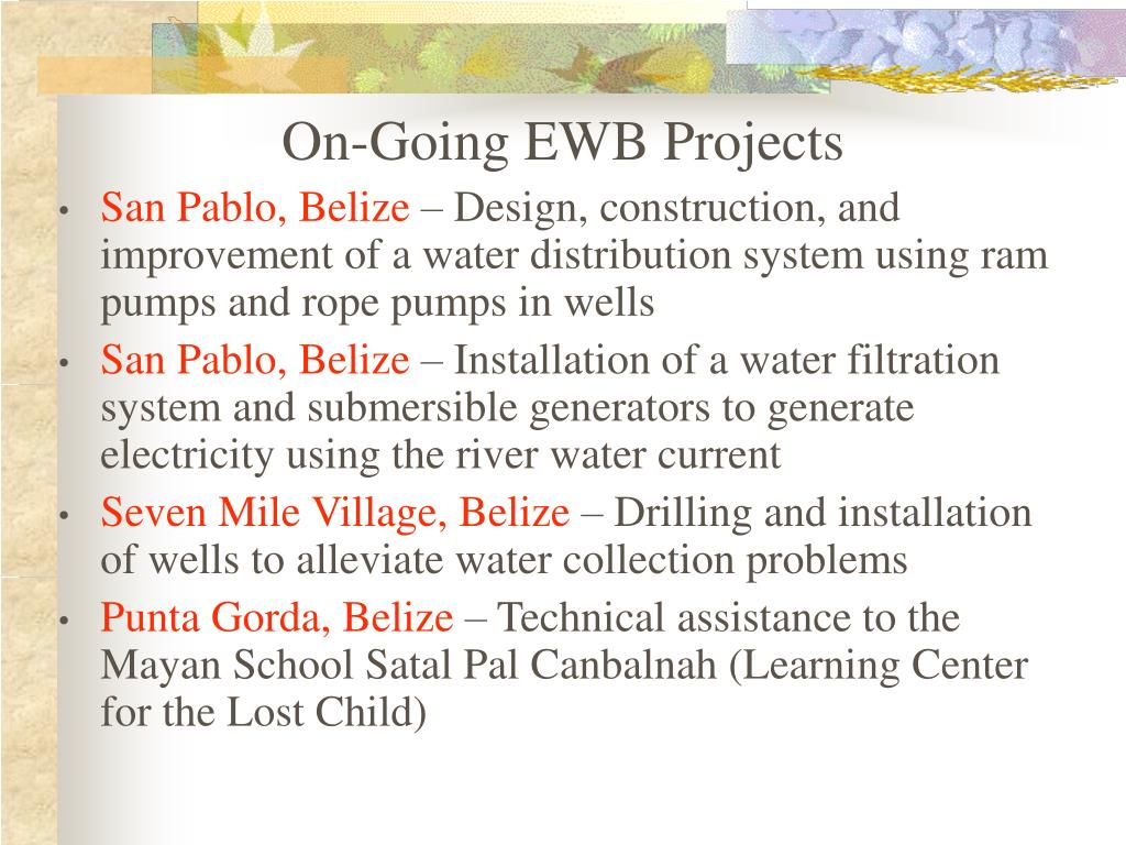 On-Going EWB Projects