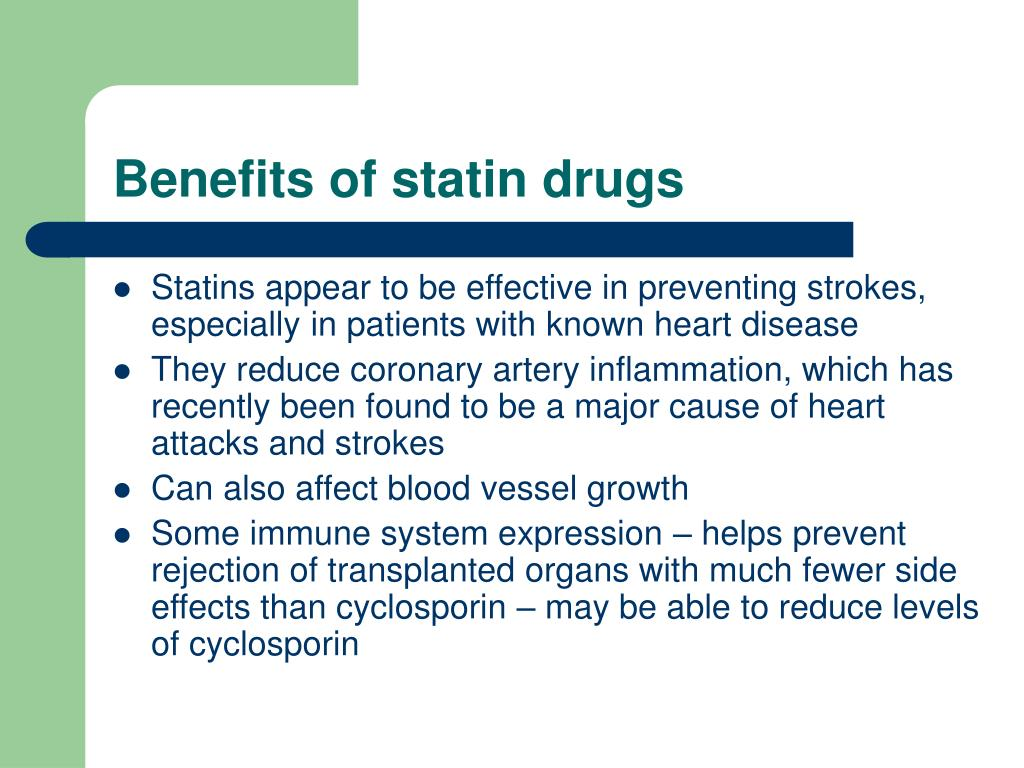Benefits of statin drugs