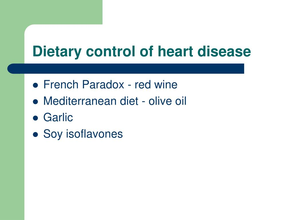Dietary control of heart disease