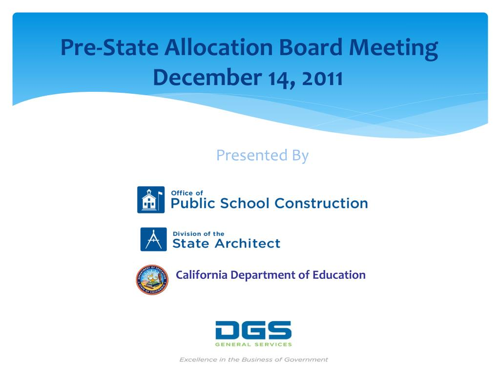 Pre-State Allocation Board Meeting