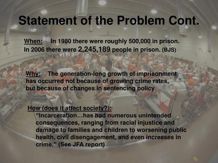 the problem of prison overcrowding in canada Regina - an advocacy group that says canada's prisons are becoming bloated human warehouses has released its own ideas on how to address overcrowding.