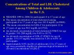 concentrations of total and ldl cholesterol among children adolescents in the u s