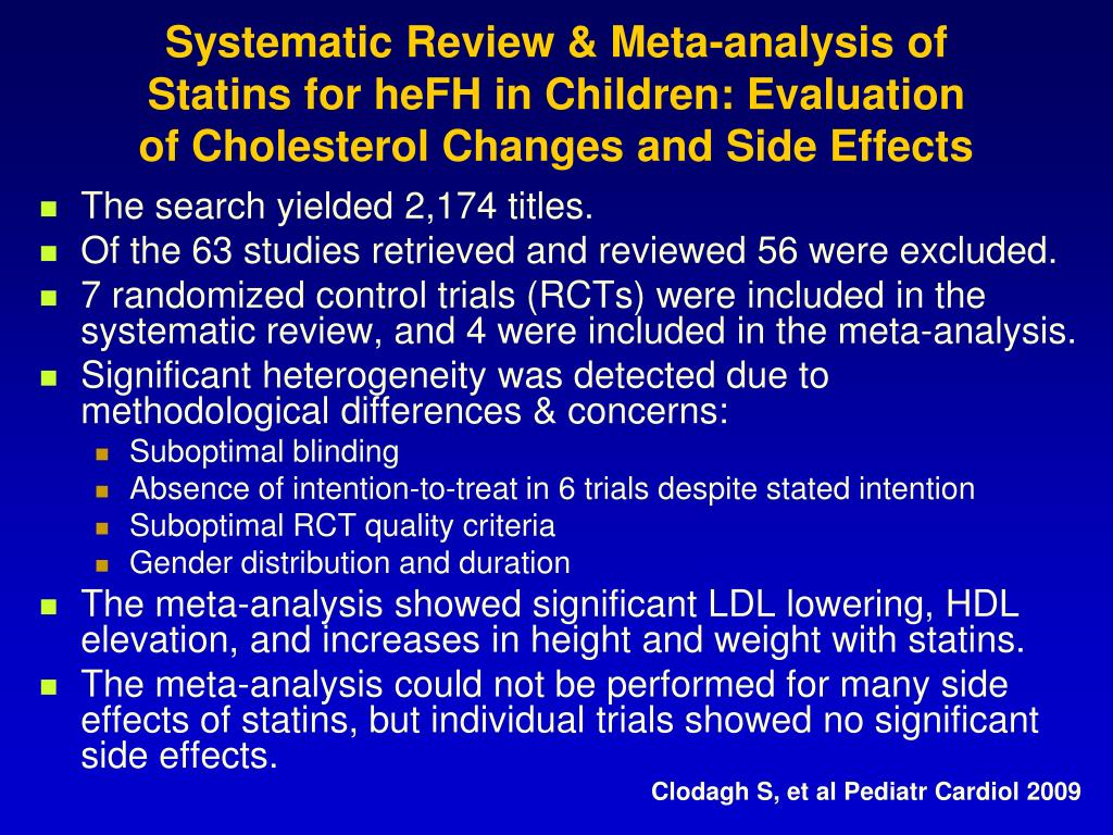 Systematic Review & Meta-analysis of Statins for heFH in Children: Evaluation