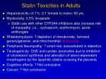 statin toxicities in adults