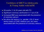 usefulness of ebct in adolescents young adults with hefh