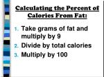 calculating the percent of calories from fat